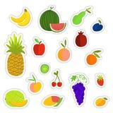 Den drog färgrika handen bär frukt klistermärkesamlingen Royaltyfri Bild