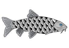 Den drog fiskhanden skissade illustrationen Klotterdiagram Fotografering för Bildbyråer