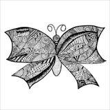Den drog fjärilsklotterhanden skissar på vit bakgrund Royaltyfri Bild