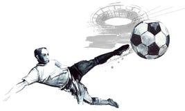 Den drog fotbollkonturhanden skissar illustrationen royaltyfri illustrationer