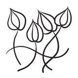 Den drog handen blommar illustrationen för vektorsymbolssymbolet Arkivfoton