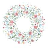 Den drog handen blommar kransen Gulligt, färgrikt för modern design för vykort och för affisch Blommar kransen, handstil Royaltyfri Foto