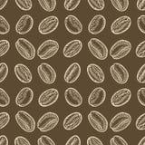 Den drog handen för kaffebönor skissar den sömlösa vektormodellen För mallar rengöringsduk, design Royaltyfri Foto