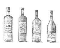 Den drog handen för vinflaskan inristade den gamla seende tappningillustrationen royaltyfri illustrationer