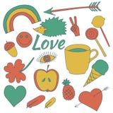 Den drog handen klottrar samlingsillustrationkaffe, äpplet, glass, hjärta Royaltyfri Foto