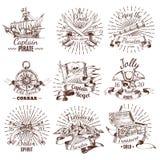 Den drog handen piratkopierar emblem royaltyfri illustrationer