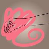 Den drog handen räcker symbolen för vektorillustrationsymbolet Arkivbilder