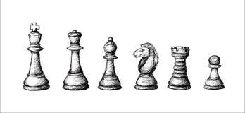 Den drog handen skissade den färdiga uppsättningen för schack royaltyfri illustrationer