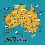 Den drog handen skissar översikten av Australien vektor illustrationer