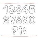 Den drog handen skissar alfabet Tal interpunktion Arkivbild