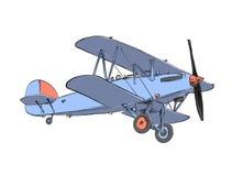 Den drog handen skissar av biplanflygplan i f?rg bakgrund isolerad white Dra f?r affischer, garnering och tryck royaltyfri illustrationer