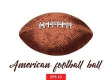 Den drog handen skissar av bollen för amerikansk fotboll i färgrikt som isoleras på vit bakgrund Detaljerad teckning för tappning vektor illustrationer