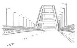 Den drog handen skissar av den Crimean bron Arkivfoto