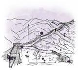 Den drog handen skissar av den stora väggen av Kina royaltyfria bilder