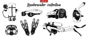 Den drog handen skissar av dykapparatdykning och undervattens- och snorkla uppsättningen som isoleras på vit bakgrund Detaljerad  royaltyfri illustrationer