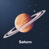 Den drog handen skissar av planeten saturn i färg, mot en bakgrund av utrymme Detaljerad teckning i stilen av tappning stock illustrationer