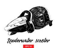 Den drog handen skissar av den undervattens- sparkcykeln i svart som isoleras på vit bakgrund Detaljerad teckning för tappningets stock illustrationer