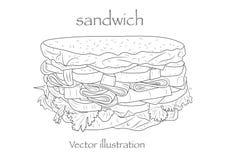 Den drog handen skissar biffsubsmörgåsen Isolerade den svarta illustrationen för vektorn objekt på vit bakgrund grönsaker för bak stock illustrationer