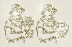 Den drog handen skissar det fastställda lantbruket som arbeta i trädgården vektor Arkivbilder