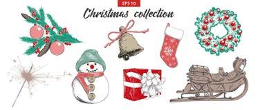 Den drog handen skissar ferieobjekt för fastställd jul som och för det nya året isoleras på vit bakgrund Detaljerad tappningetsni royaltyfri illustrationer