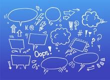 Den drog handen skissar illustrationen - anförandebubblor stock illustrationer