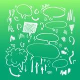 Den drog handen skissar illustrationen - anförandebubblor Royaltyfria Foton