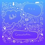 Den drog handen skissar illustrationen - anförandebubblor Kommunikation Fotografering för Bildbyråer