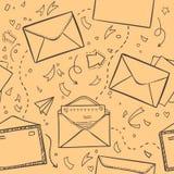 Den drog handen skissar illustrationen - bokstaven och kuvertet Förälskelselette Royaltyfri Foto