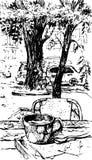 Den drog handen skissar illustrationen för vektorn för kaffekoppen Arkivbild