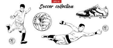 Den drog handen skissar ställde in av den fotbollfotbollsspelare, skon och bollen som isoleras på vit bakgrund Detaljerad tappnin royaltyfri illustrationer