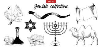 Den drog handen skissar ställde in av judiska beståndsdelar som isoleras på vit bakgrund vektor illustrationer
