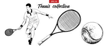 Den drog handen skissar ställde in av tennisspelaren, tennisracket och bollen som isoleras på vit bakgrund Detaljerad tappningets royaltyfri illustrationer