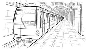 Den drog handen skissar den St Petersburg gångtunnelstationen Royaltyfri Bild