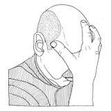 Den drog Head handen skissade illustrationen Arkivbild