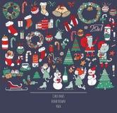 Den drog juluppsättningen av handen klottrar i enkel stil Färgrik illustration för vektor med jultillbehör som julträd stock illustrationer