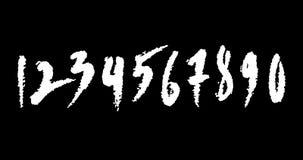 Den drog livliga handen numrerar en till noll på svart bakgrund stock video