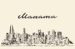 Den drog Manama horisontBahrain vektorn skissar Royaltyfri Bild
