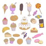 Den drog samlingen av den färgrika handen skissade linjära sötsaker: muffin glass, godisar, kakor, choklad, donuts royaltyfri illustrationer