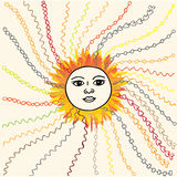 Den drog solhanden skissade illustrationen Royaltyfri Bild
