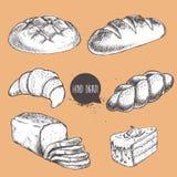 Den drog tappninghanden skissar stilbageriuppsättningen Bröd giffel, stock illustrationer