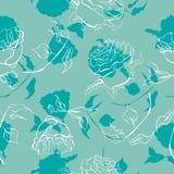 Den drog tappninghanden steg den sömlösa modellvektorn för blomman stock illustrationer
