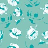 Den drog tappninghanden steg den sömlösa modellvektorn för blomman vektor illustrationer