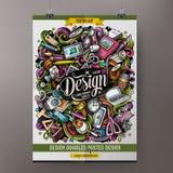 Den drog tecknad filmhanden klottrar den märkes- affischen vektor illustrationer