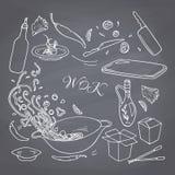 Den drog uppsättningen av översiktshanden wokar restaurangbeståndsdelar för din design Mat för asiat för kritastilklotter stock illustrationer