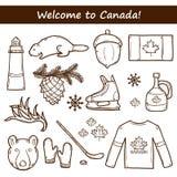 Den drog uppsättningen av tecknad filmhanden anmärker på det Kanada temat Royaltyfri Fotografi