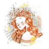 Den drog ursnygga nätta för kvinnasjöjungfrun för renässans Botticelli utformade ledsna röda head handen för blyertspennan skissa royaltyfri illustrationer
