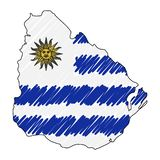 Den drog Uruguay översiktshanden skissar r Lands?versikt f?r royaltyfri illustrationer