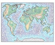 Den drog världskartahanden skissade illustrationen Klotterdiagram Arkivbilder