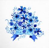 Den drog vattenfärghanden blommar buketten Arkivbild