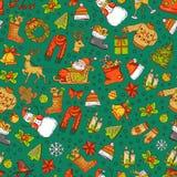 Den drog vektorhanden färgade julbeståndsdelar med santa, xmas-trädet, gåvor och klockamodellen stock illustrationer